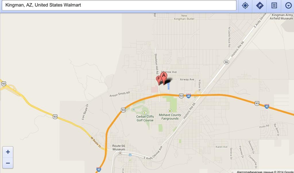 Walmart супермаркет на карте Google